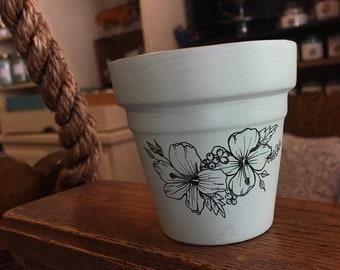 Hand painted floral terra cotta pot