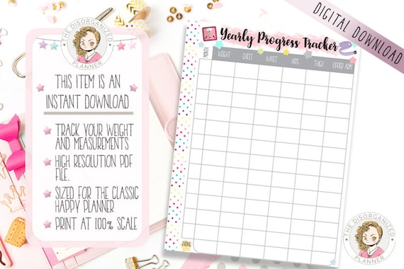 weight loss tracker and measurement tracker fits happy etsy