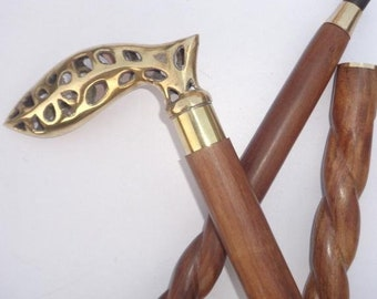 Antique Wood Walking Stick Brass Anchor Handle Defense Canes Fashion Party Prop