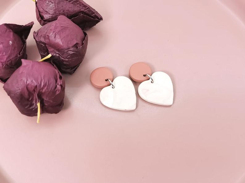 Quirky Earrings Girls Polymer Clay Earrings Colorful Clay Heart Earrings Everyday Heart Clay Earrings Funky Earrings Handmade
