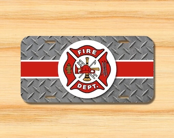 Firefighter License Plate Topper stripe aluminum novelty fire department sign