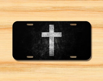 f2675f749b5 Jesus Cross Black and White Religious Christian Christ License Plate