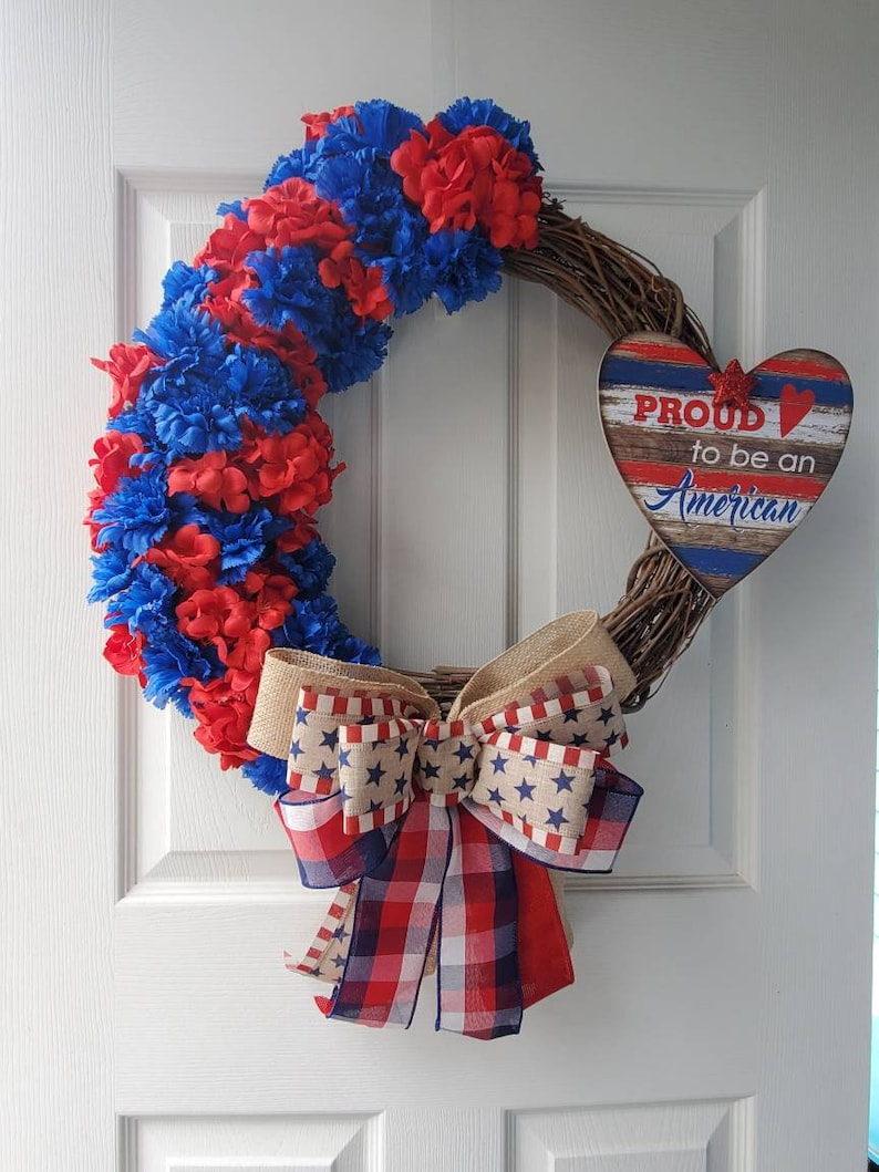 Red and blue Carnations on a Grapevine Wreath Free Shipping! Patriotic Flower Wreath Pround to be an American Grapevine wreath