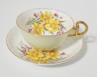 Royal Grafton Fine Bone China Cup & Saucer Yellow Daffodils Vintage n