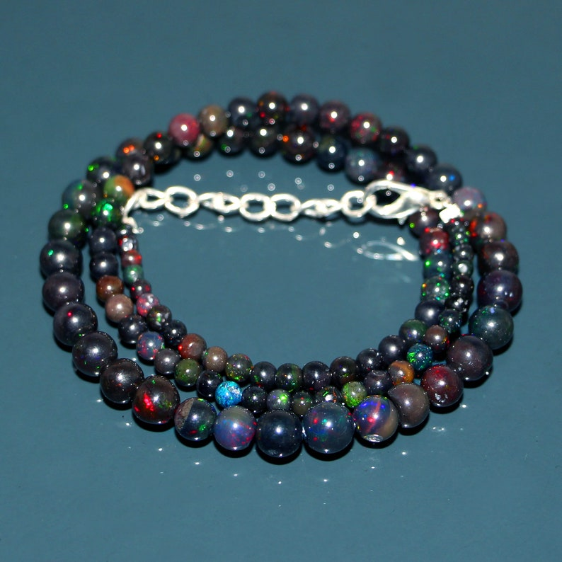 Gemstone C7710 3 To 7mm Opal Round Balls Beads Natural Ethiopian Black Opal Ball Necklace 1 Line Strand Beaded Necklace 16/'/' Inch