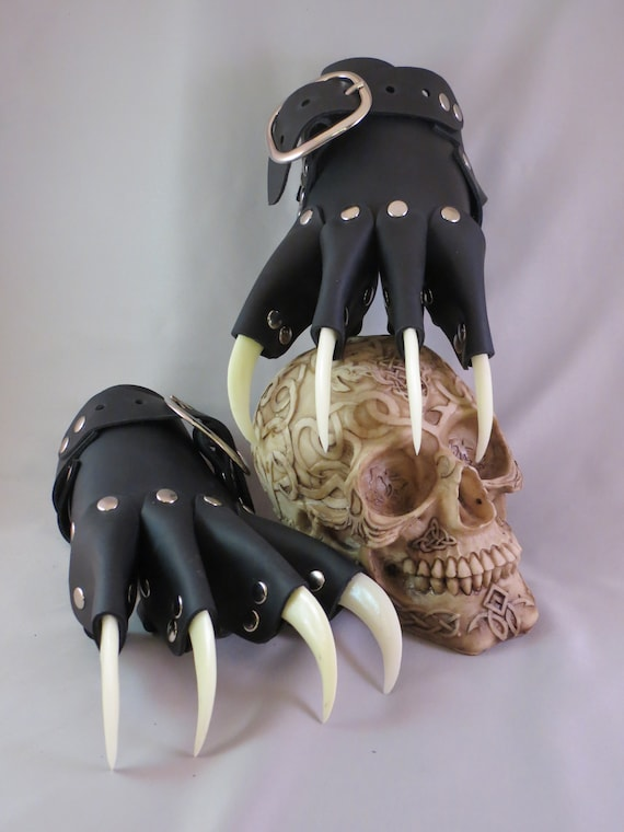 Red Dragon Leather Claw Gauntlets Gothic Gloves