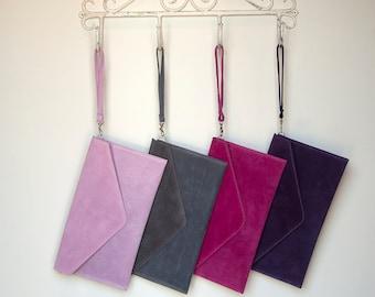 c6d5ea35d3 Personalised Envelope Suede Clutch, Bridesmaids Gift, Personalised Bag,  Elegant Colourful Clutch Bag, Pink Clutch, Custom Clutch Gift,Purple