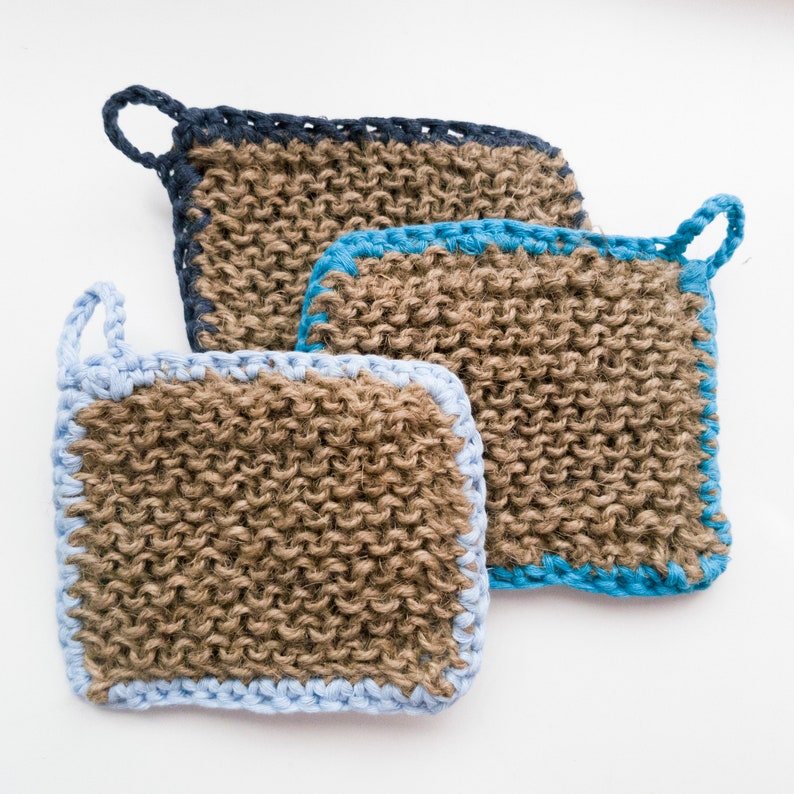 Washable sponge Hemp-Cotton Double-Sided 100/% Recyclable Ready to ship Tawashi 3 Pack
