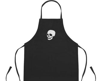 Embroidered Skull Apron, choose from black or white with personalization available