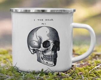 Anatomical Skull Enamel Camping Mug, enamel and tin outdoor mug with classic black and white skull print