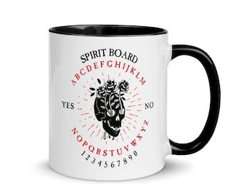 Rose Skull Ouija Board Mug, Black Handle