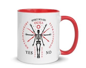 Skeleton Ouija Board Mug, Red Handle