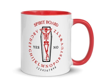 Coffin Ouija Board Mug, Red Handle
