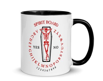 Coffin Ouija Board Mug, Black Handle