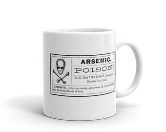 Arsenic Poison White Ceramic Halloween Mug, Poison Label Mug, Arsenic Label Mug, Coffee and Tea Mug, Halloween Decor, White Coffee Mug
