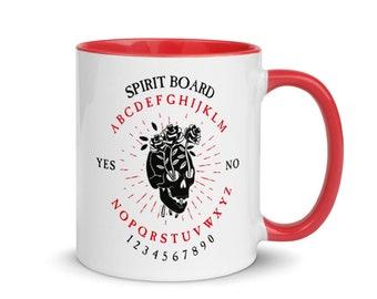 Rose Skull Ouija Board Mug, Red Handle
