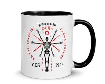 Skeleton Ouija Board Mug, Black Handle