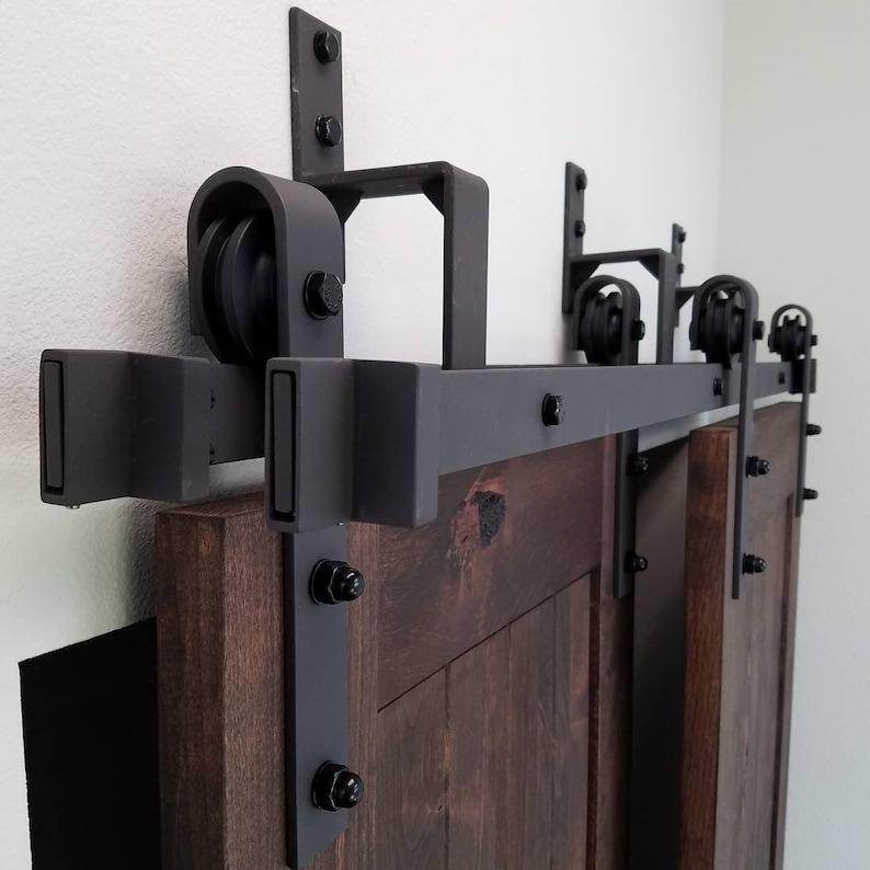 4 8.2FT Black Steel Bypass Barn Door Hardware One Piece Wall Mount Bypass  Sliding Door Track Roller Kit
