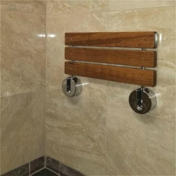20 Modern Solid Teak Wood Folding Shower Seat Bench Brushed Wall Mounted Shower Bench Bathtub Seat Fold Down Spa Bench