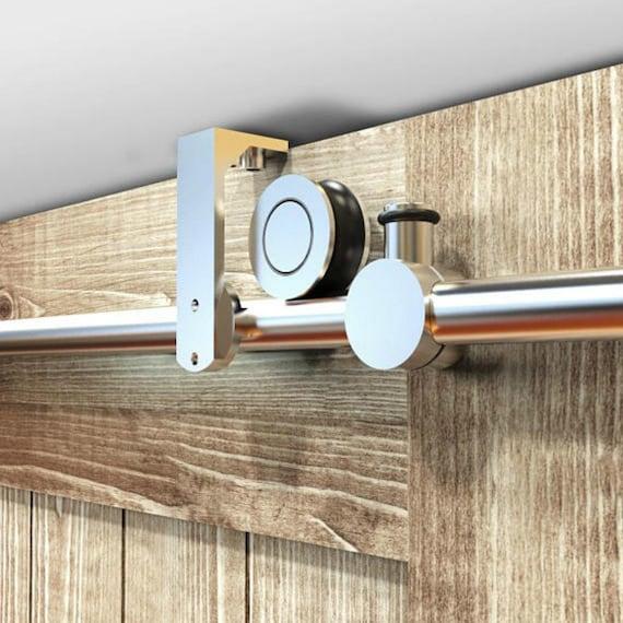 Attirant Top Ceiling Mount Brushed Stainless Steel Wood Sliding Single Door Hardware  Biparting Door Bypass Barn Door Hardware Ceiling Bracket