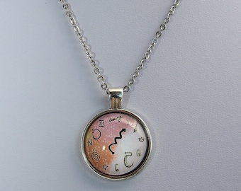 Stainless steel Necklace (only) with cabochon pendant 16/18 inch chain mad clock