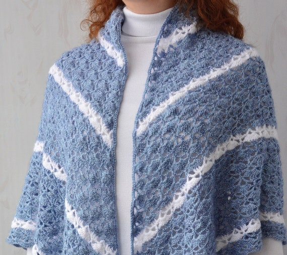 Crochet Elegant Shawl Gift For Woman Who Has Everything Mohair