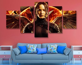 The Hunger Games Mockingjay Poster Hunger Games Canvas Wall Art, Wall Decor, 5 pieces set, Birthday Gift, Home Decoration, Giclee kids room