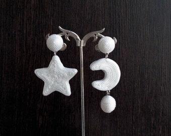 White silk earrings Bonbon earrings White Stud Earrings Silk white balls La La Hoop Earrings Statement earrings Long Chinky clip on earrings