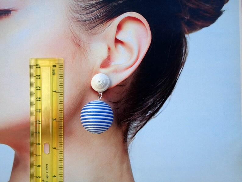 CLASSIC DROP COCONUT blue /& white color Handmade Wrapped cord. Bon bon bonbon les bonbon ball Earrings Les Bonbons