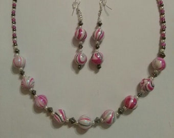 Cotton Candy Necklace and earring set