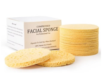 Facial Sponges - NATURAL Compressed Cellulose Facial Sponges for Facial Cleansing (50 PACK)