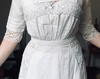 Cotton/linen and lace 1900 crochet dress