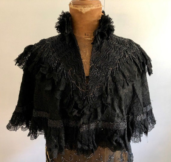 Cloak / cape 1890-1900 Victorian black embroidery