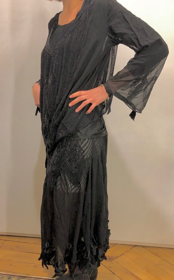 Dress 1920 embroidery black beads / genuine 1920 a