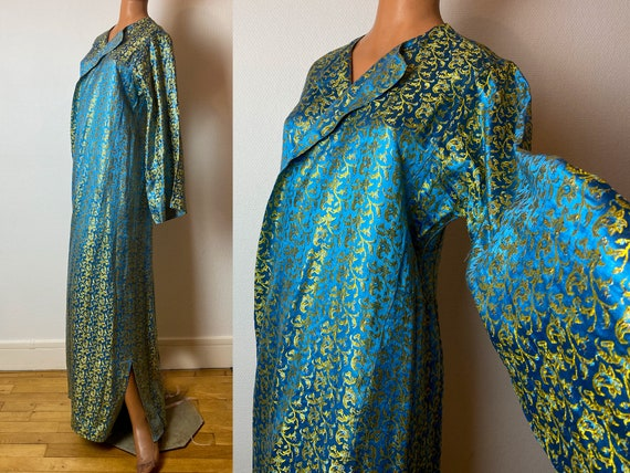 1940 blue and gold lamé dressing gown