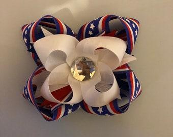 Fourth of July red white and blue stacked hair bow