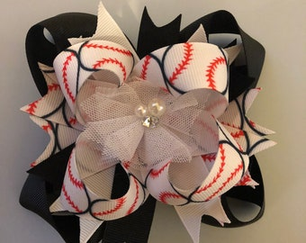 Baseball red white and black stacked hair bow