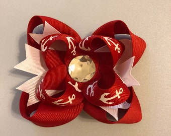 4 inch red and white stacked anchor hair bow