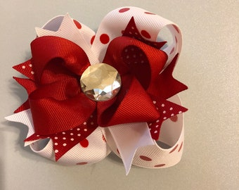 4 inch red and white polka dot stacked bow