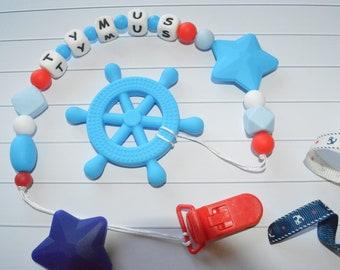 Personnalisé Dummy Clip-Silicone clip-sucette clip-Anneau de dentition Clip-bleu marine