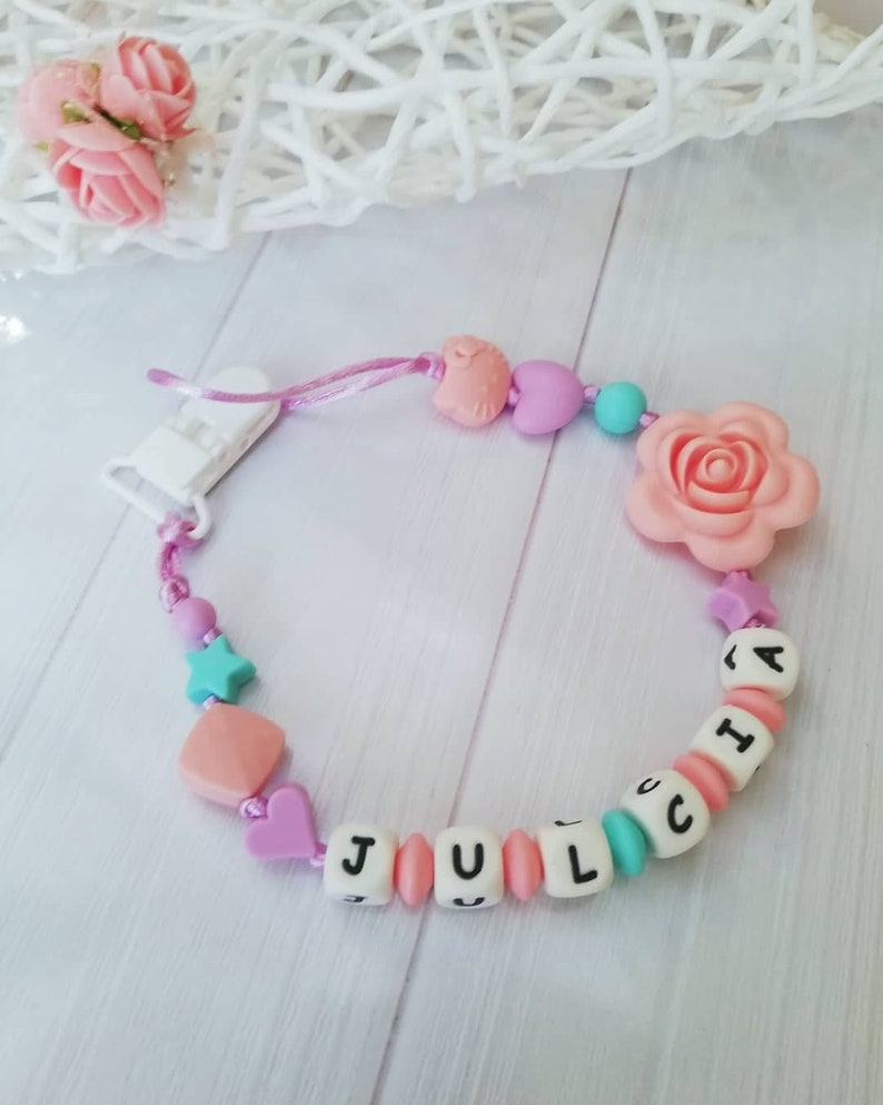 Silicone Personalised Dummy Clip Pretty Flamingo Baby Pink Grey White Gift Girl