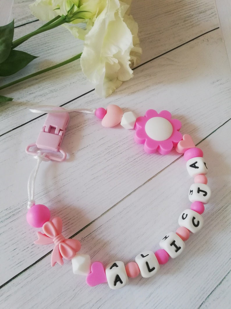 Full Silicone Personalised Dummy Pacifier With Silicone Clip Girls Flower Baby