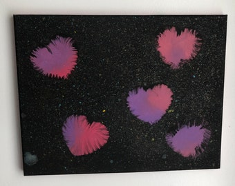 Abstract Colorful Hearts Painting