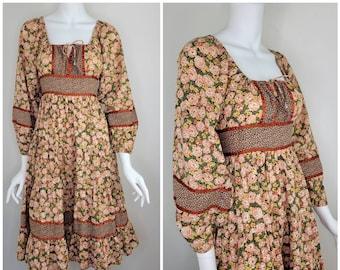 Vintage 1970s Mindy Molone prairie midi dress, Gunne Sax style midi dress, Size 7 / Cottage core / Rose print / Gunne Sax by Jessica / Small