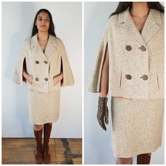 Vintage 1960s beige flecked wool skirt & cape set
