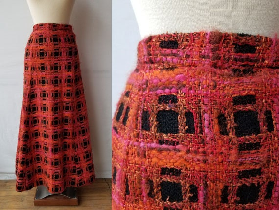 Vintage 1970s Size XS/S plaid A-line heavywool max