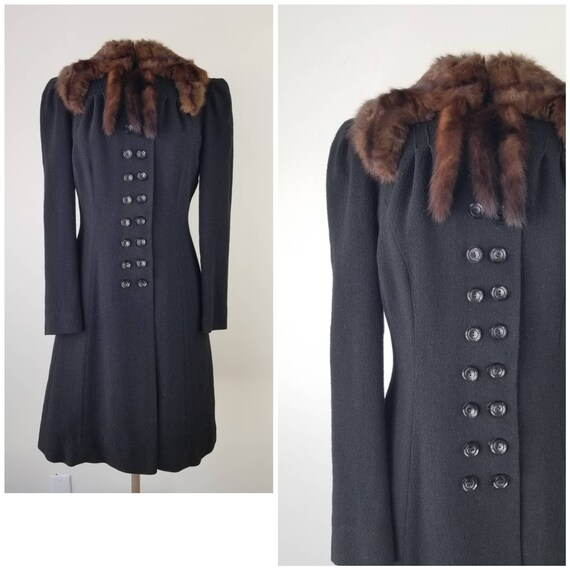 Vintage 1930s Size S / M black wool crepe military