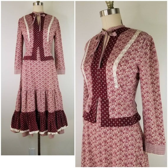Vintage 1970s Gunne Sax Calico peplum midi dress,