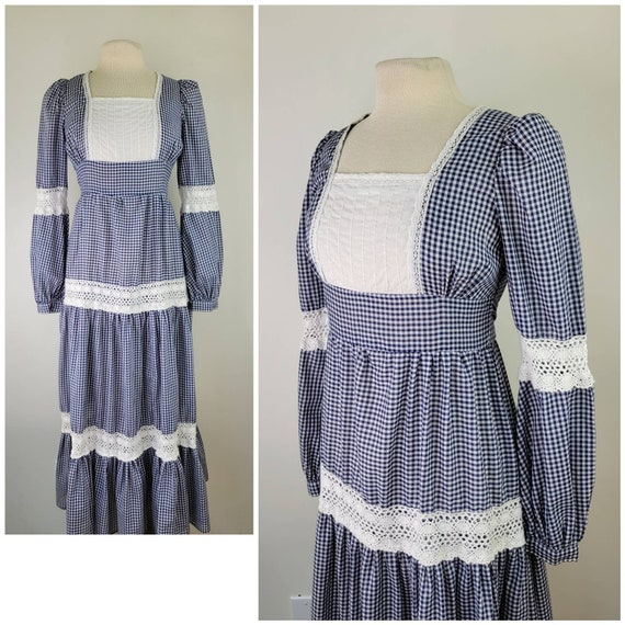 Vintage Gunne Sax gingham maxi dress long sleeves… - image 1