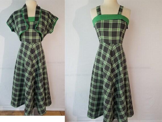 Vintage 1940s Size S cotton plaid sundress with ba